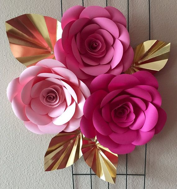 Giant Paper Flowers Pink And Gold Floral Decorations Wedding