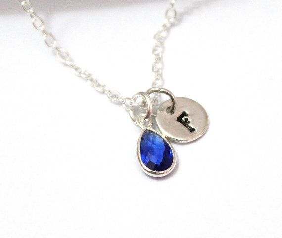Sapphire Necklace Personalized Birthstone Sterling Silver Sapphire Birthstone September Birthstone Initial Jewelry Bridesmaid Gift Sapphire Birthstone Sapphire Necklace