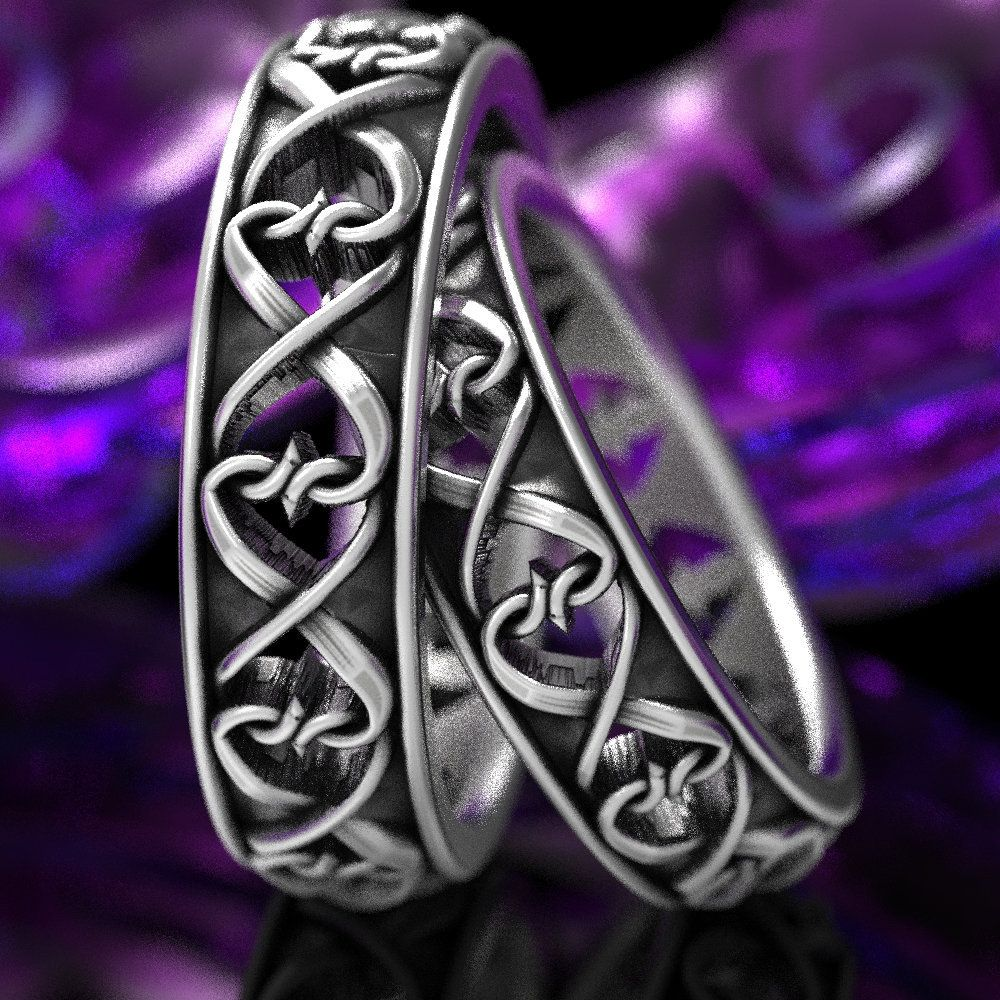 Intertwined Hearts Pattern Set of Two Rings, Celtic Heart