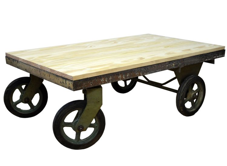 Mesa centro de carro de hierro industrial antiguo 64.9 x 109.8 x ...