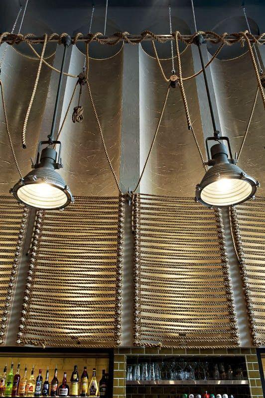 The Fish Shack Vancouver- Restaurant Design. Love the nautical light/rope design.: