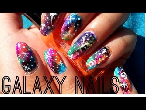 how to paint these amazing colorful galaxy nails tutorial