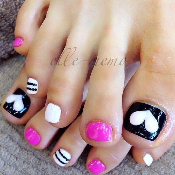 Black White Fuchsia Hearts Stripes Toenail Design