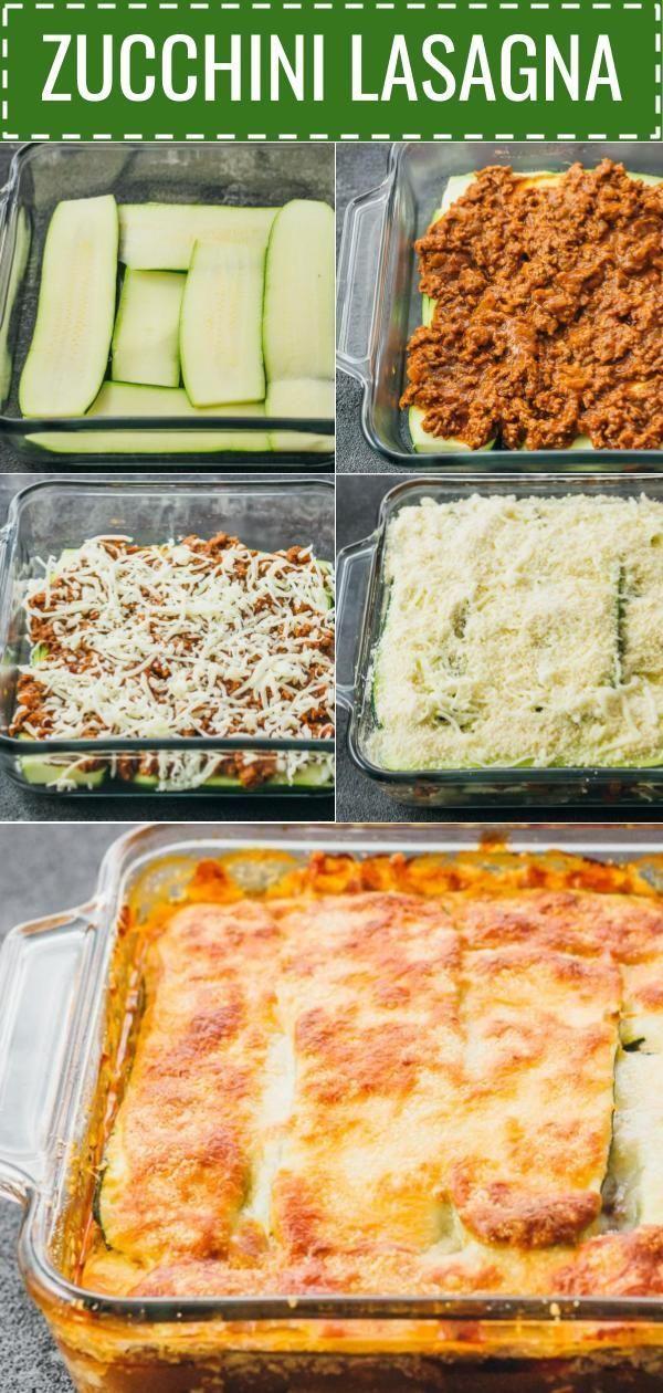 Diese leichte Zucchini-Lasagne ist eine großartige kohlenhydratarme und gesunde Alternative z...