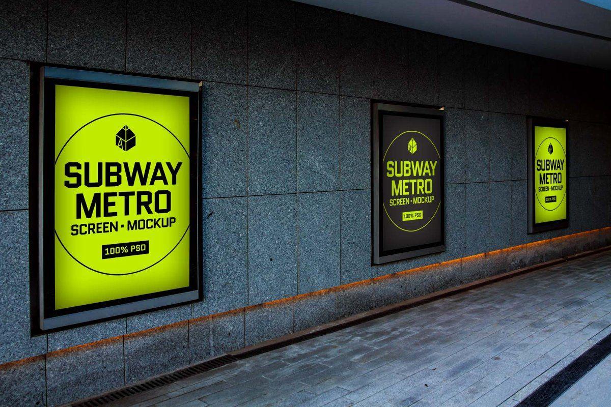 Subway Metro Screen Mock Ups 2 Subway Metro Mockup