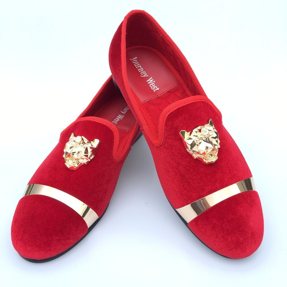 Handmade Red Velvet Loafers Men Wedding Prom Shoes with Buckle Slippers  Flat New  JourneyWest   bea6ab1d00de