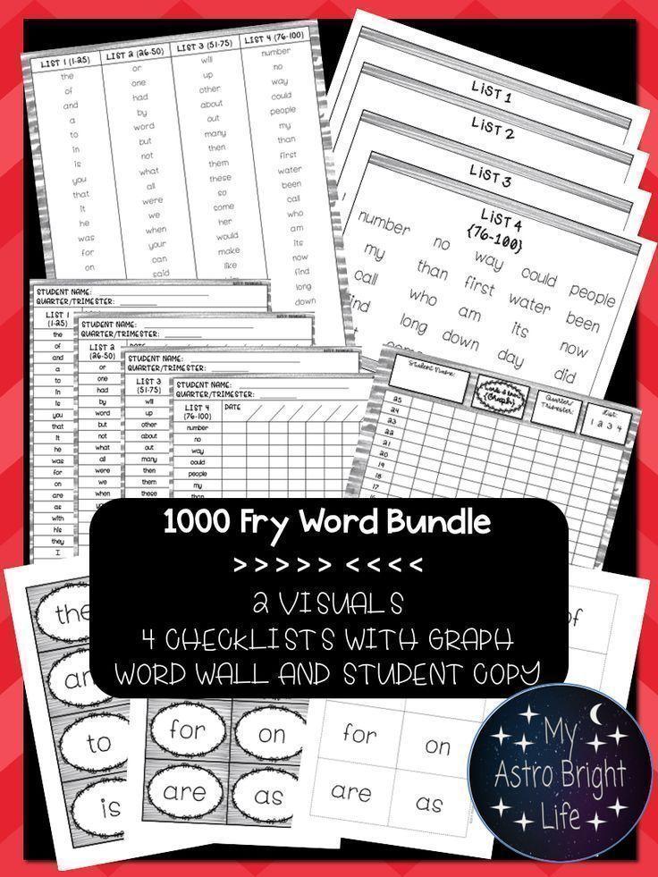 Fry Sight Word Progress Monitoring- All 1000 Fry Words