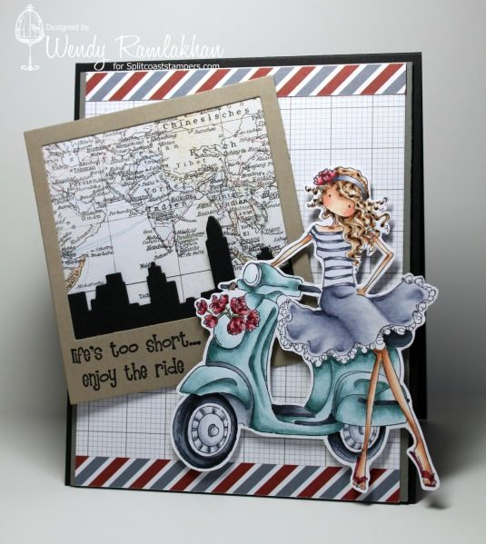 Stamping Bella Vienna on her Vespa stamp. SU Basic Black, Basic Grey cardstock. Theresa Collins Far & Away dsp. MFT NY skyline die-namic.