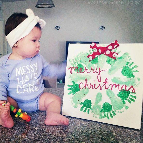 Handprint/Footprint Christmas Wreath Craft - Crafty Morning #mistletoesfootprintcraft