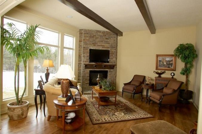 Tv Over Brick Faced Corner Fireplace Living Room