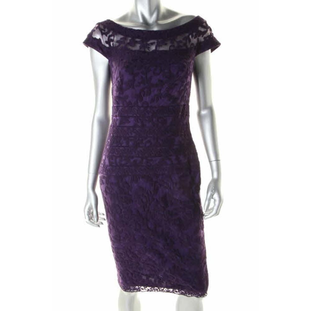 TADASHI SHOJI NEW Purple Embroidered Cap Sleeves Party Cocktail ...
