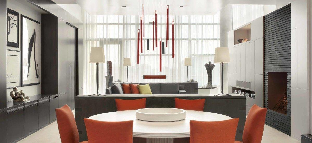 ingo maurer 39 s flying flames chandelier in a cwe penthouse interior design dana romeis castle. Black Bedroom Furniture Sets. Home Design Ideas