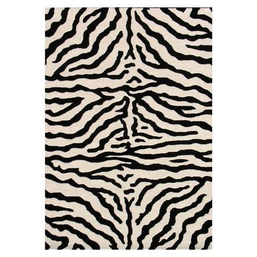 Zebra Print Area Rug Animal Skin 8x10 Black Ivory White