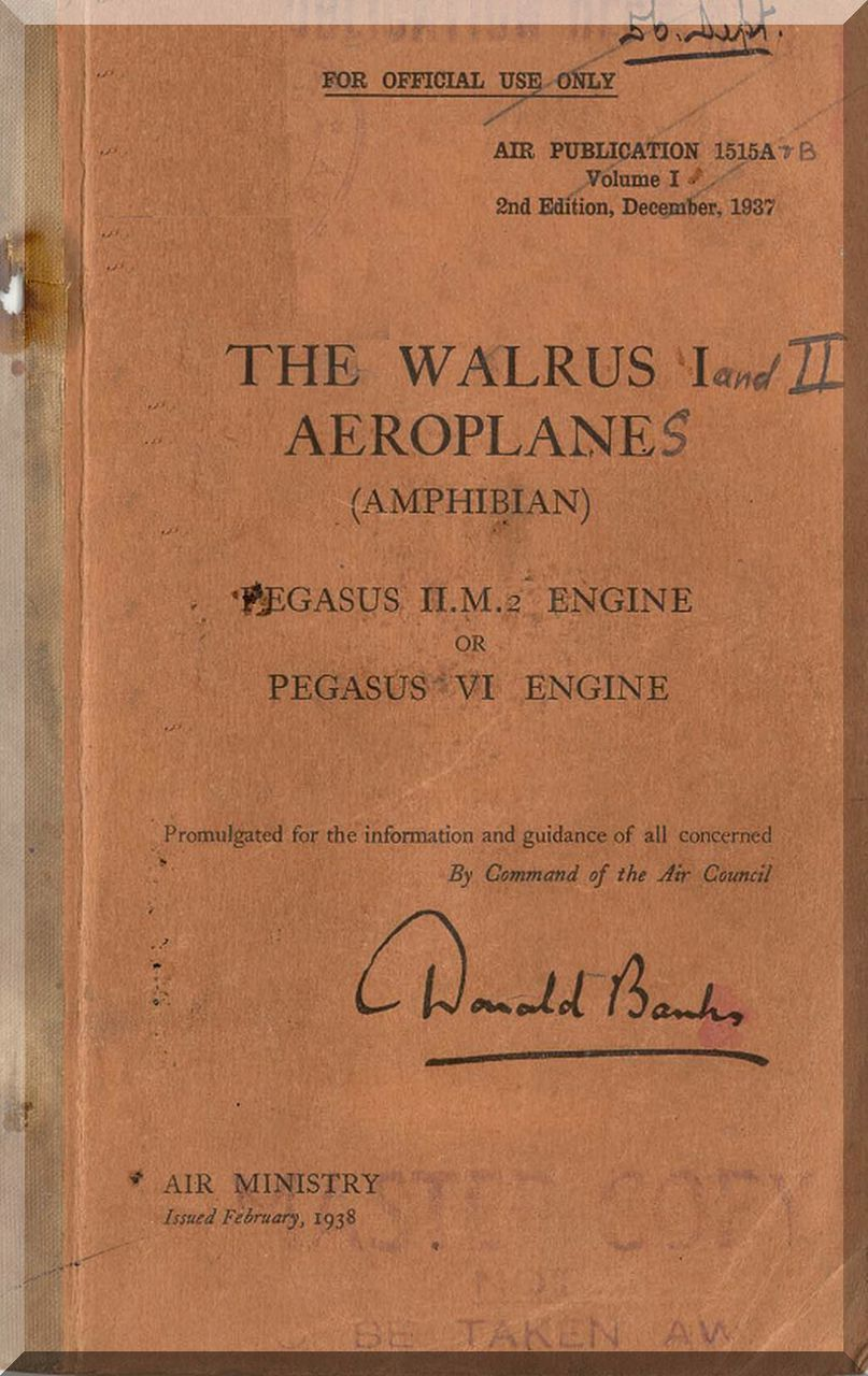 Supermarine Walrus Aircraft Technical Manual ( English