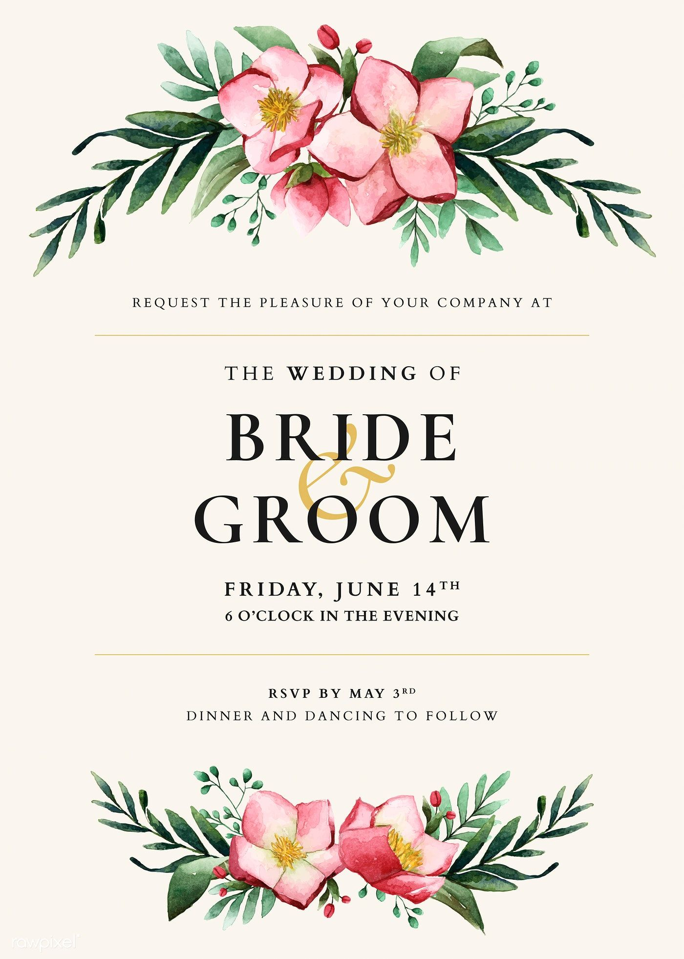 Download Premium Vector Of Flowers Invitation Card Template Vector