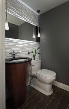 The Wavy Modular Arts Paneled Wall Is The Scene Stealer Here The Wave Crests Seem To Dissipate Away From Bathroom Design Powder Room Design Bathrooms Remodel