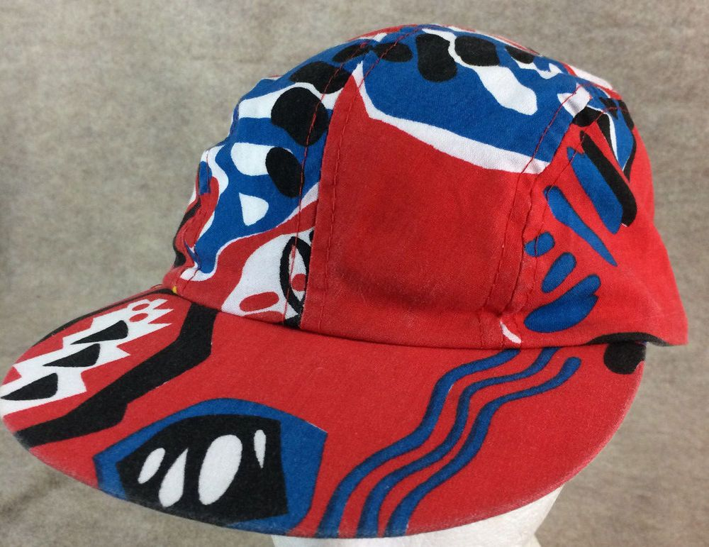 0cddb1e2 Vintage 90s Wendys Abstract Print Tribal Snapback Four Panel Hat Cap Red # fashion #clothing