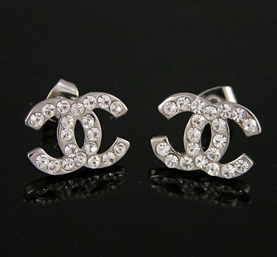 6467ca276 Inspired Chanel Silver Earrings CC Logo Charms Studs With Crystals. $9.95,  via Etsy.