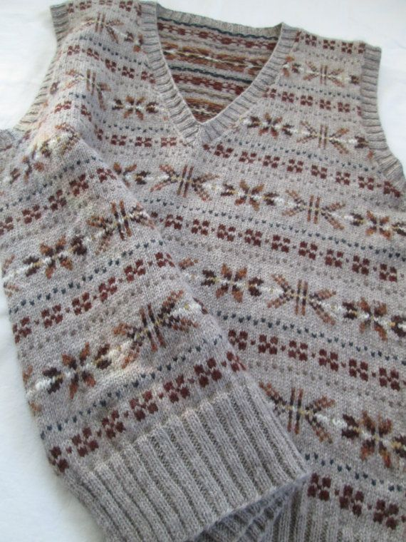Hand Knit Vest Fair Isle Men Tank Top Pure Wool Slip Over Size 42 ...
