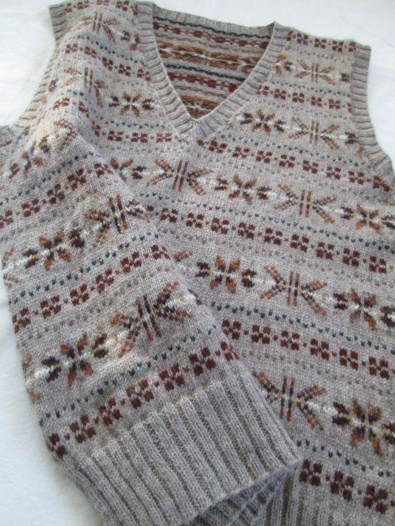 Hand Knit Vest Fair Isle Men Pure Wool Slipover Size 42   Fair ...