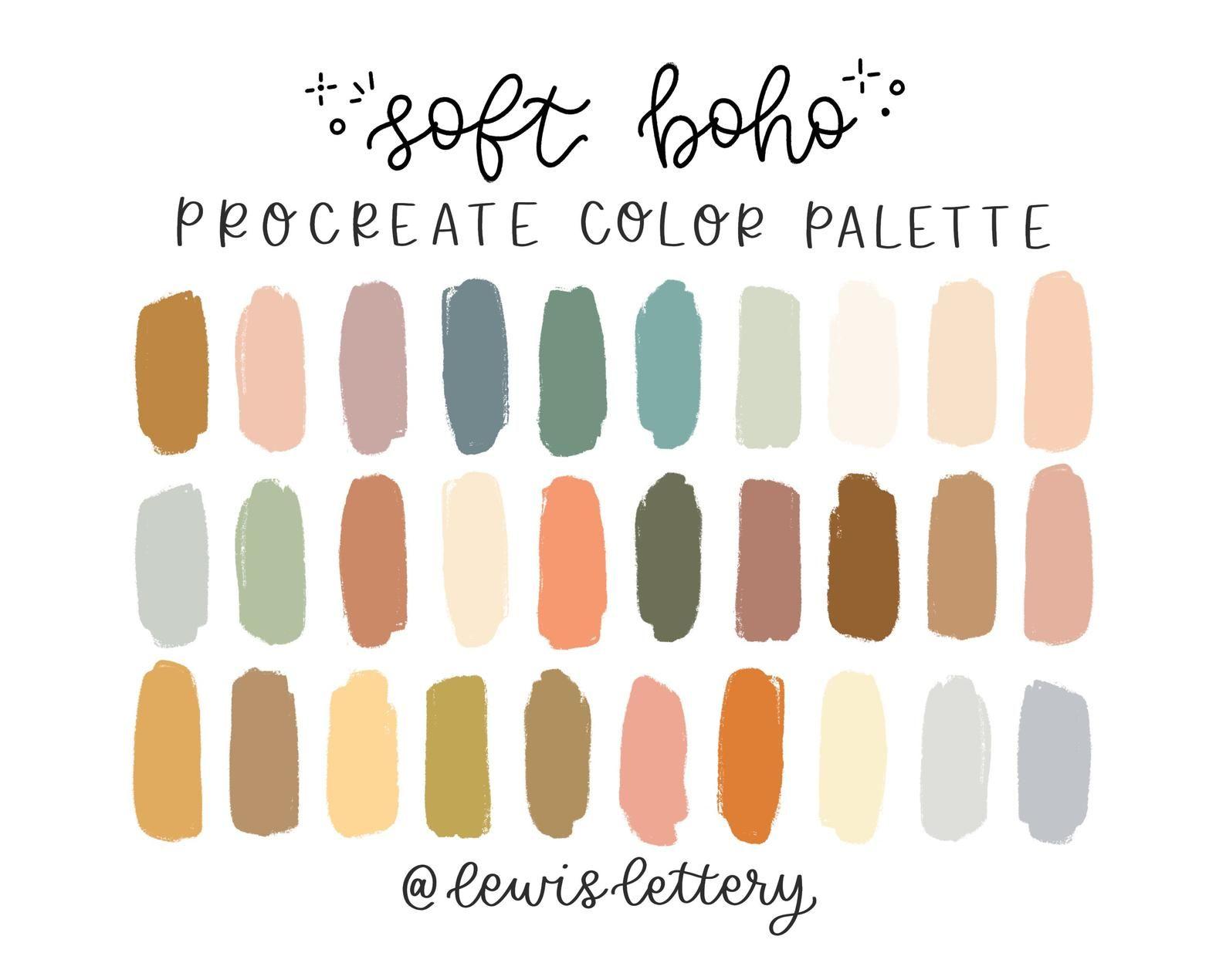 Soft Boho Procreate Color Palette Color Swatches Ipad Etsy In 2020 Color Palette Design Color Swatches Color Palette