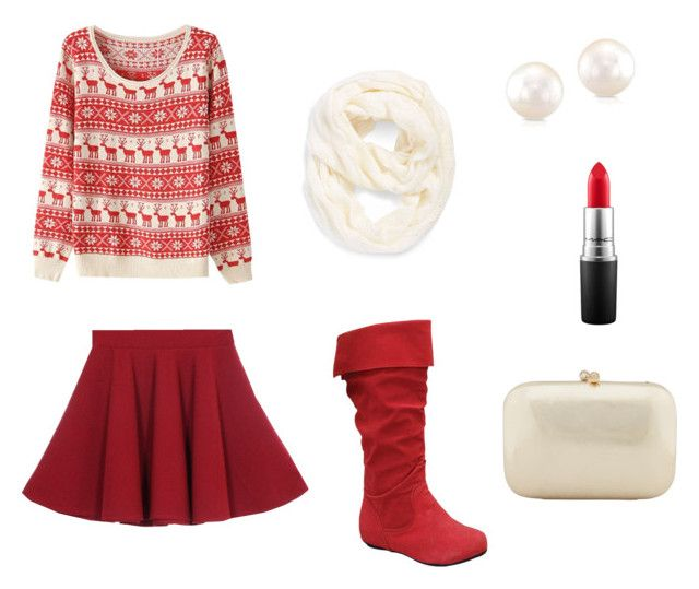 """""""Red and white Christmas outfit"""" by courtneydodson on Polyvore featuring Echo, Serpui and MAC Cosmetics"""