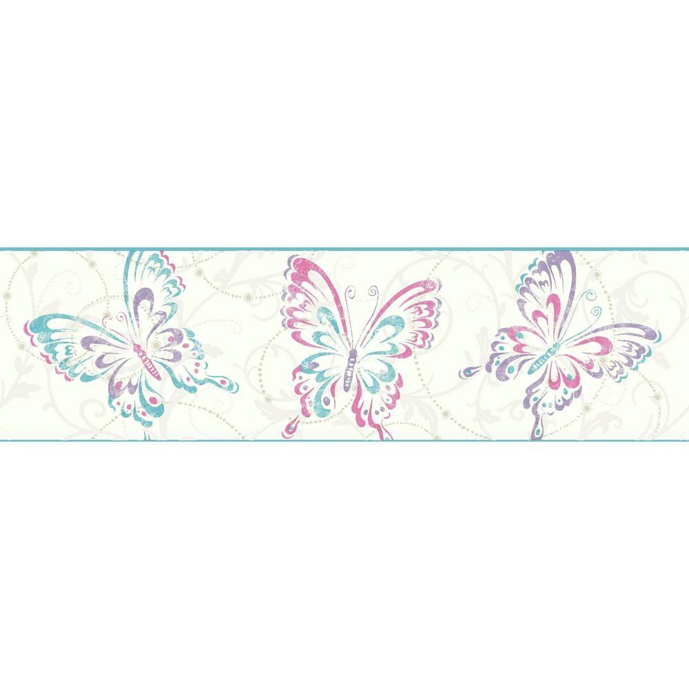 York Wallcoverings Growing Up Kids Butterfly/Scroll