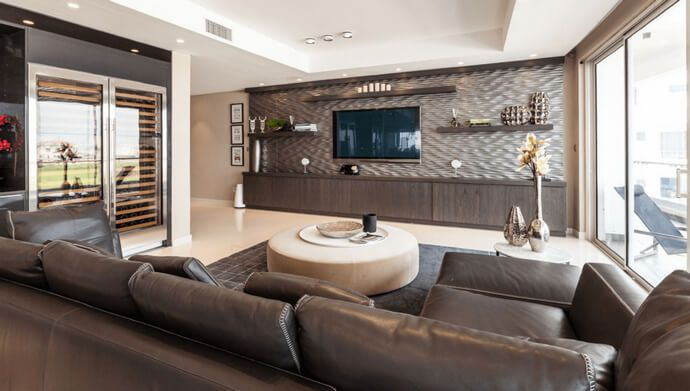 Here We Have This Huge And Grand Media Cabinet Installation For Your Spacious Living Room This Design Modern Living Room Wall Bedroom Tv Wall Wall Mounted Tv