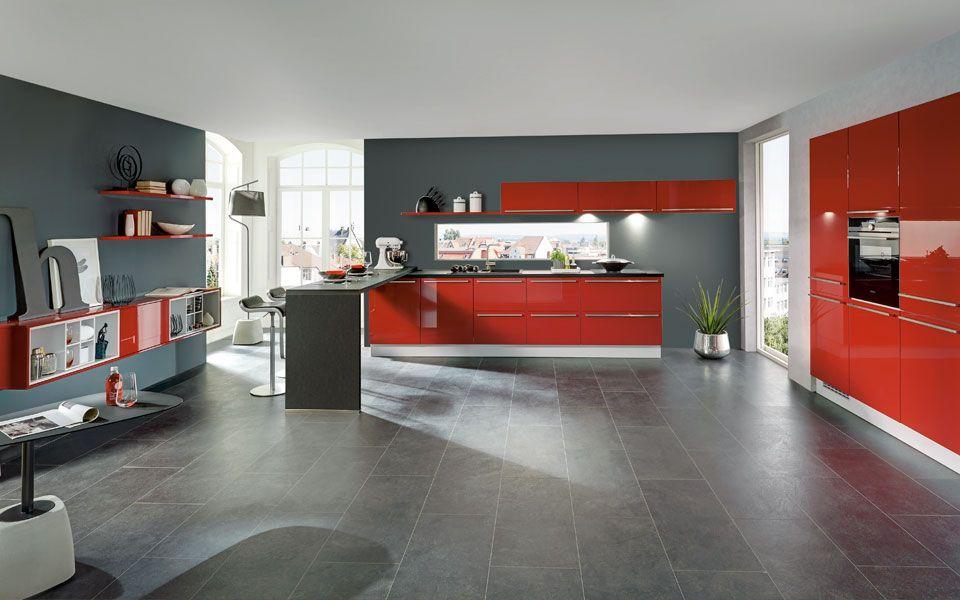 Offene Küche in Rot Hochglanz - Küche&Co | Küche | Pinterest ...