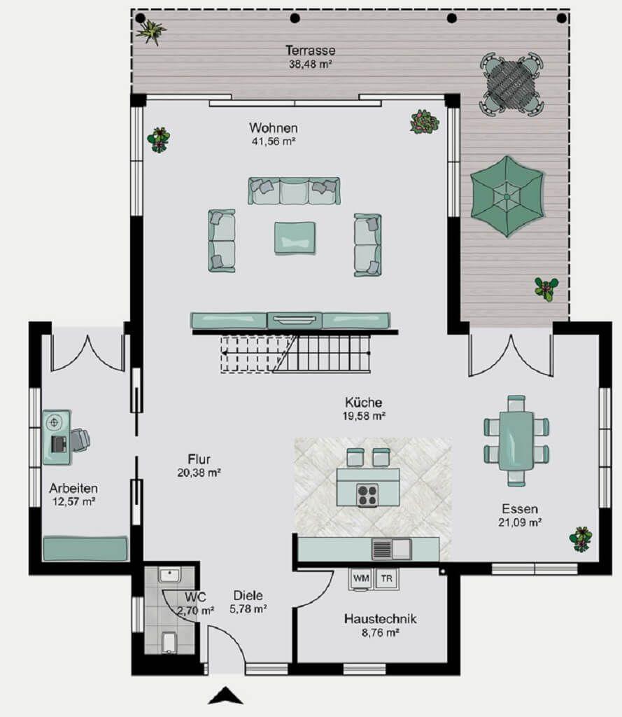 Grundriss Stadtvilla Haus Dessau   Wohnküche, Wohnzimmer, Bad, Terrasse Und  Treppe   Streif