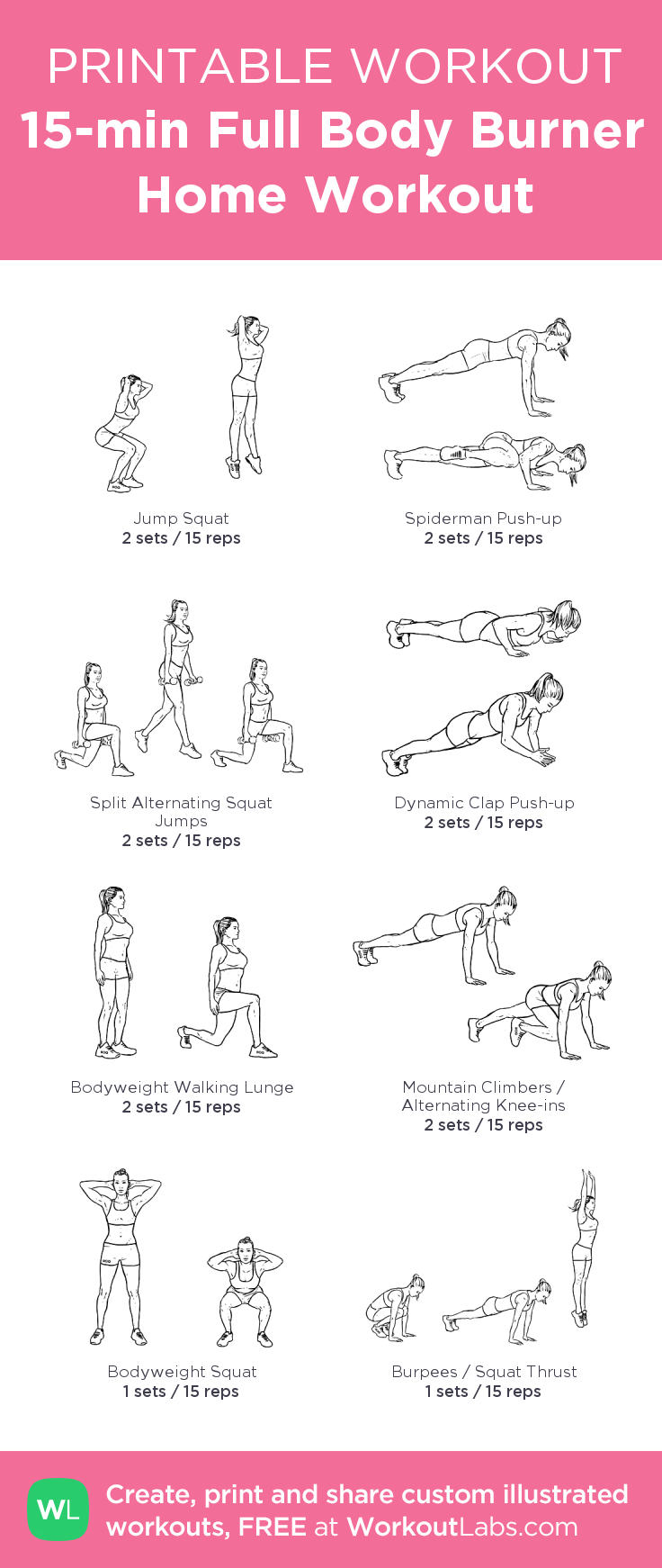 15 Min Full Body Burner Home Workout My Custom Created At WorkoutLabs O Click Through To Download As Printable PDF Customworkout