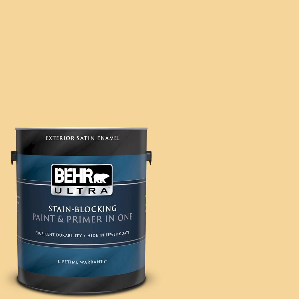 Behr Ultra 1 Gal 350c 3 Applesauce Satin Enamel Exterior Paint And Primer In One 985401 Exterior Paint Behr Paint Primer
