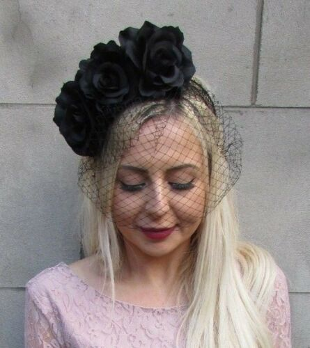 Black Rose Flower Birdcage Veil Fascinator Headband Races Funeral Floral 6655