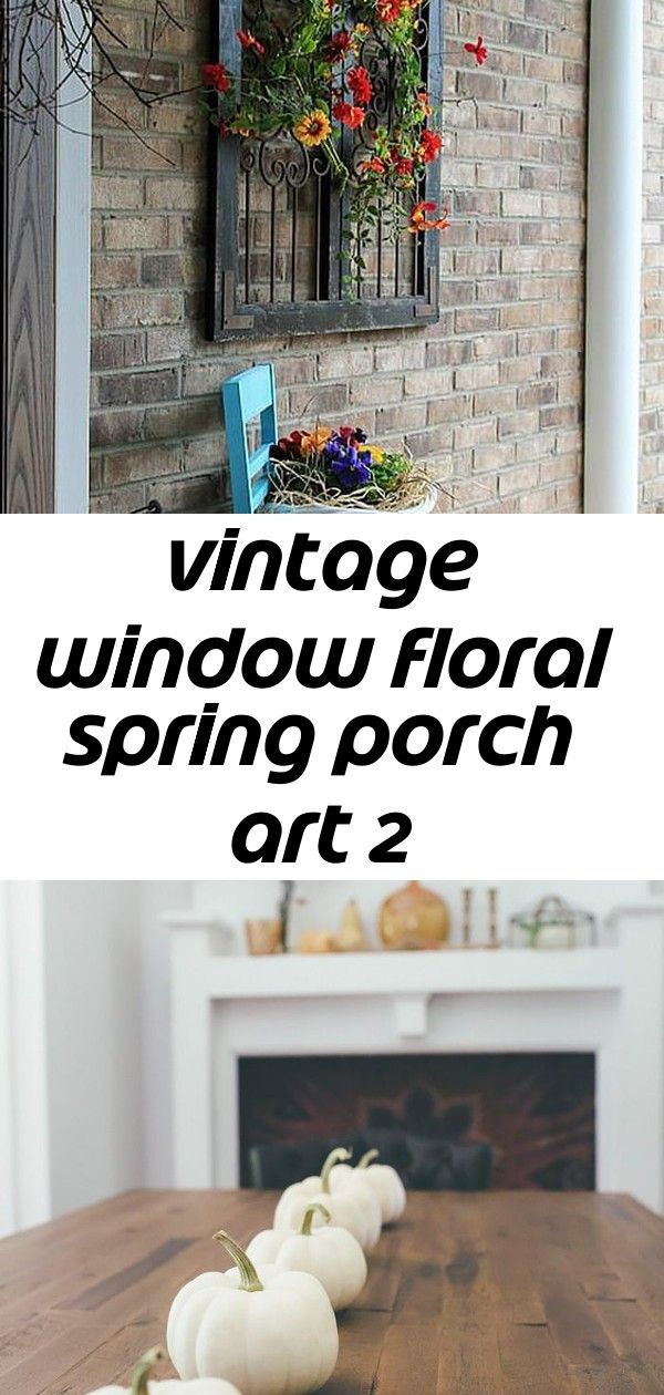 Vintage window floral spring porch art 2