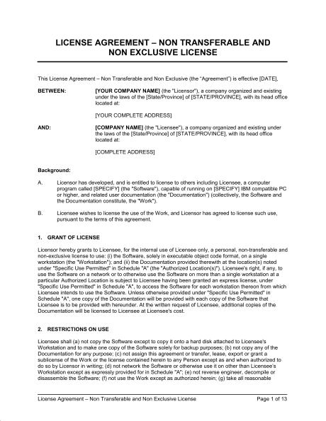 License Agreement Contract Of LicenseRight To Customer  Template