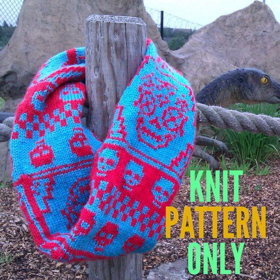 Reversable Los Muertos Infinity Scarf Knitting Pattern This Skull