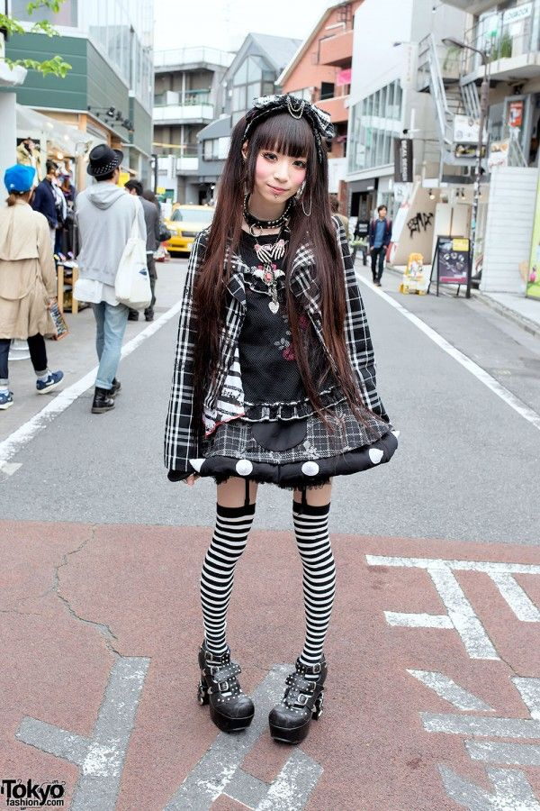 Plaid h.NAOTO Fashion, Striped Socks, Studded Heels Piercings in Harajuku