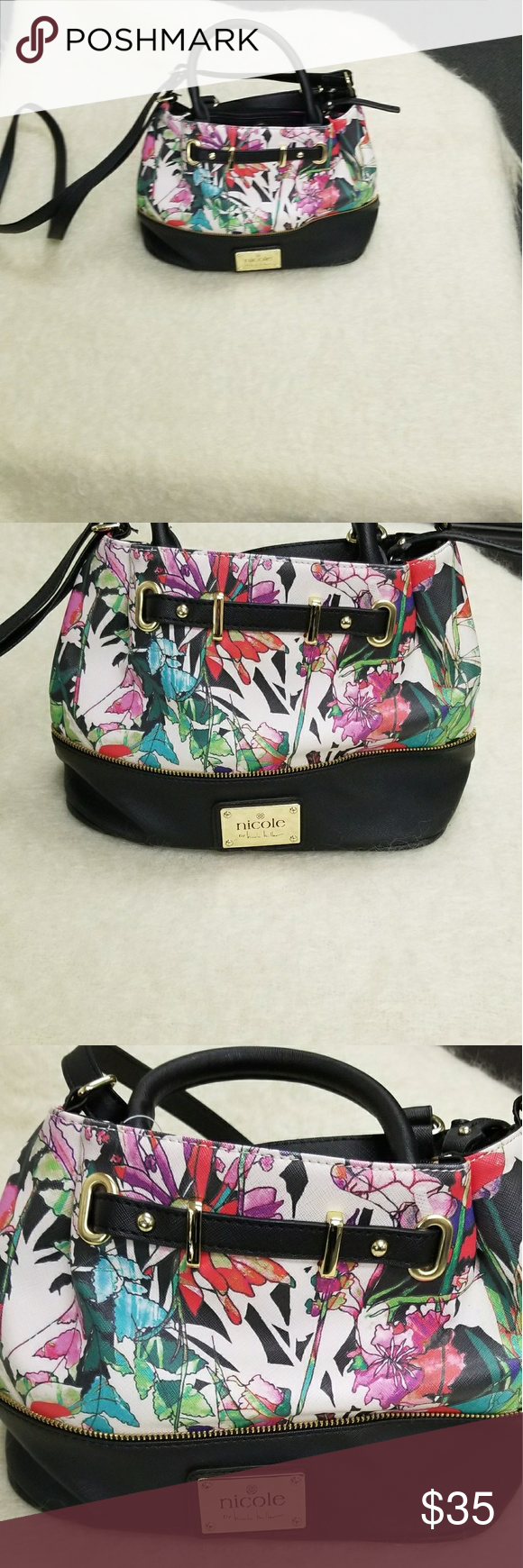 Nicole Miller Floral Print Bucket Purse Floral handbags
