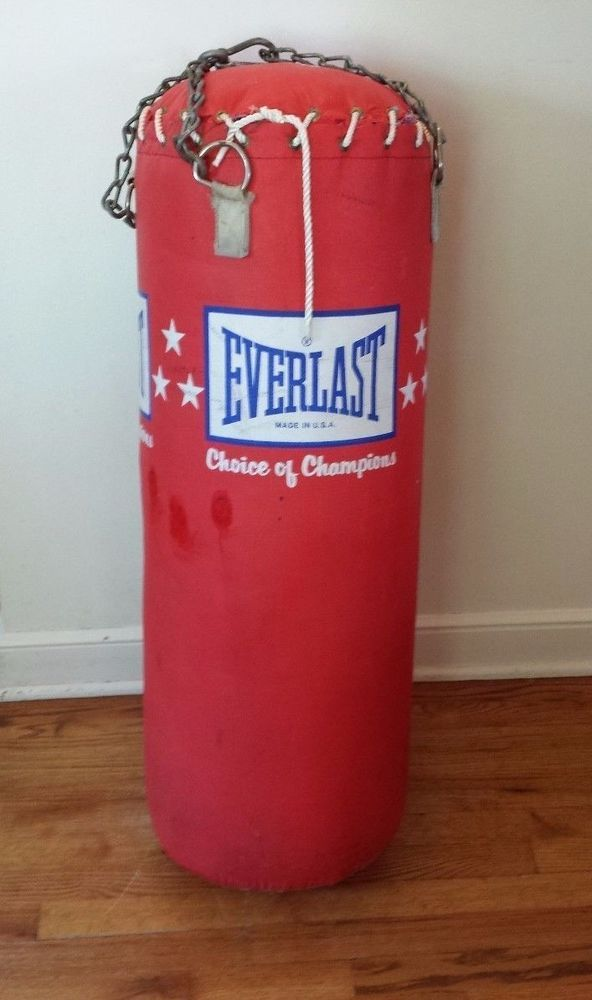 Vintage Everlast Heavy Bag Leather 50 Lbs Made In Usa With Gloves And Chain
