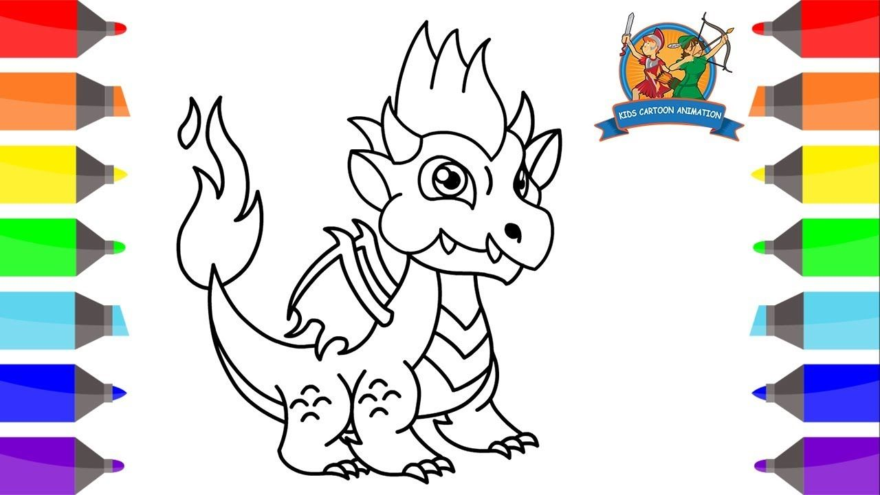 How To Draw Flame Dragon For Kids Coloring Pages For Kids Dragon City Kids Cartoon Animation Https Youtu Be Lc6bk4zpj Dragon City City Drawing Coloring Pages
