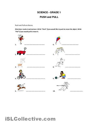 forces printable | ... and Pull worksheet - Free ESL printable ...