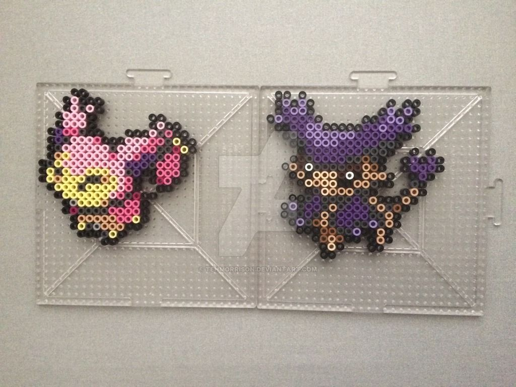 Perlers of Pikachu and his evolutions (including pre-evolution Pichu) from Gens 1 and 2 Perlers made using menusprites from Gen 6 as a reference. Pokemon is owned by Nintendo