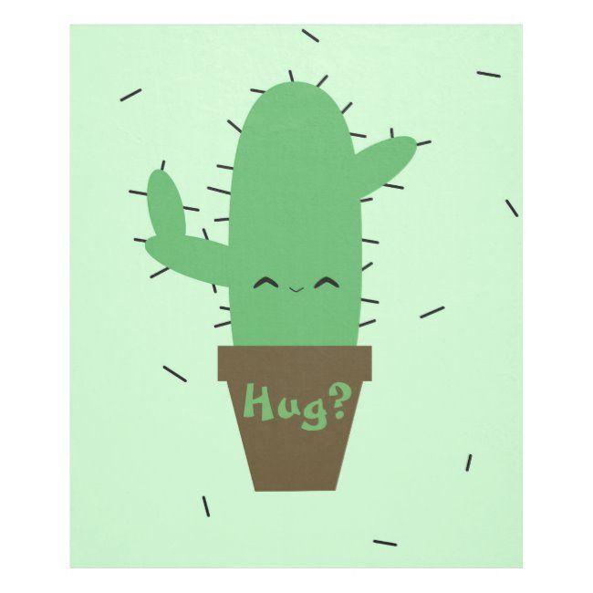 Cute cactus kawaii plant fleece blanket