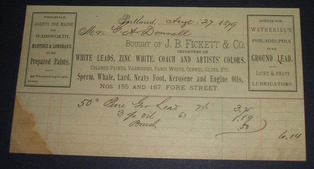 Original 1879 J. B. Fickett & Co., Portland, Maine