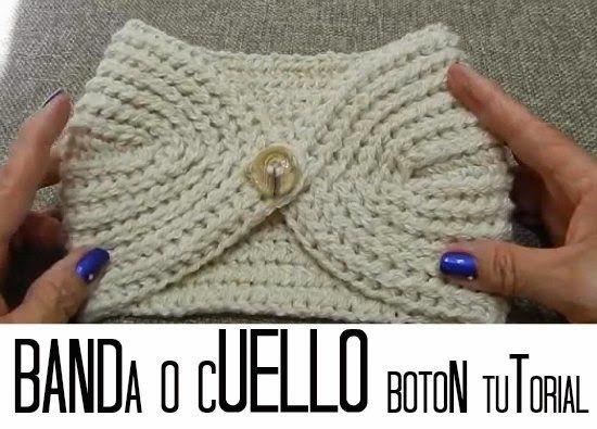 Banda-Diadema o Cuello de Crochet con Boton | GANCHILLO | Pinterest ...