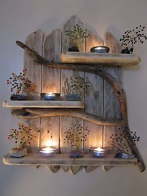 Charming Natural Genuine Driftwood Shelves Solid Rustic