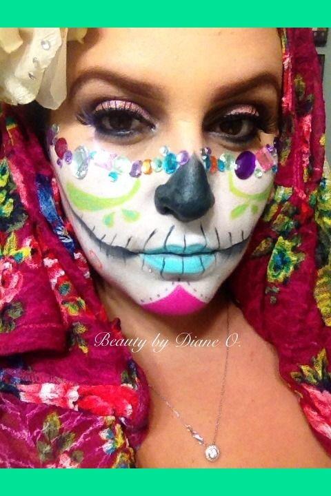 Glamzy SUGAR SKULL Diane Ou0027s Photo Beautylish Trendy stuff my - maquillaje de halloween para nios