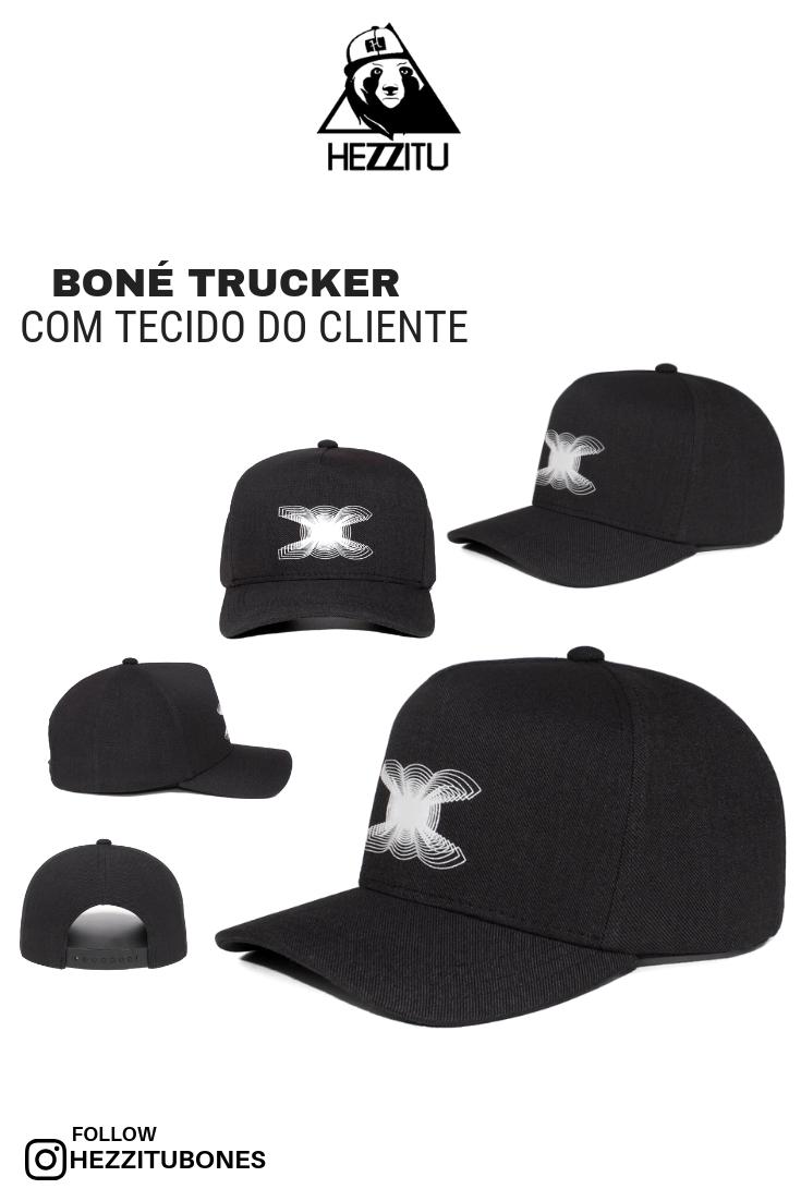 Boné trucker com tecido do cliente Descrição  Boné trucker com tecido do  cliente 90909a421c3