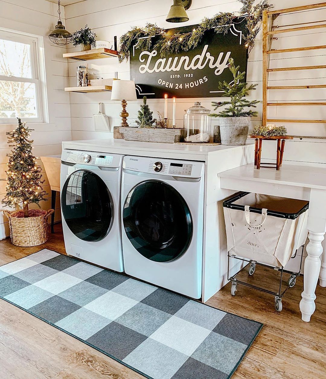 Ruggable On Instagram Laundry Room Or Mudroom Our Forever Farmhouse Styles The Versatile Buffalo Plaid Black And White Rug And We Home Home Rugs White Rug
