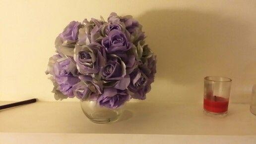 Tissue paper roses centerpiece